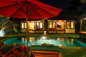 Malika pool view night Imani Villas-min